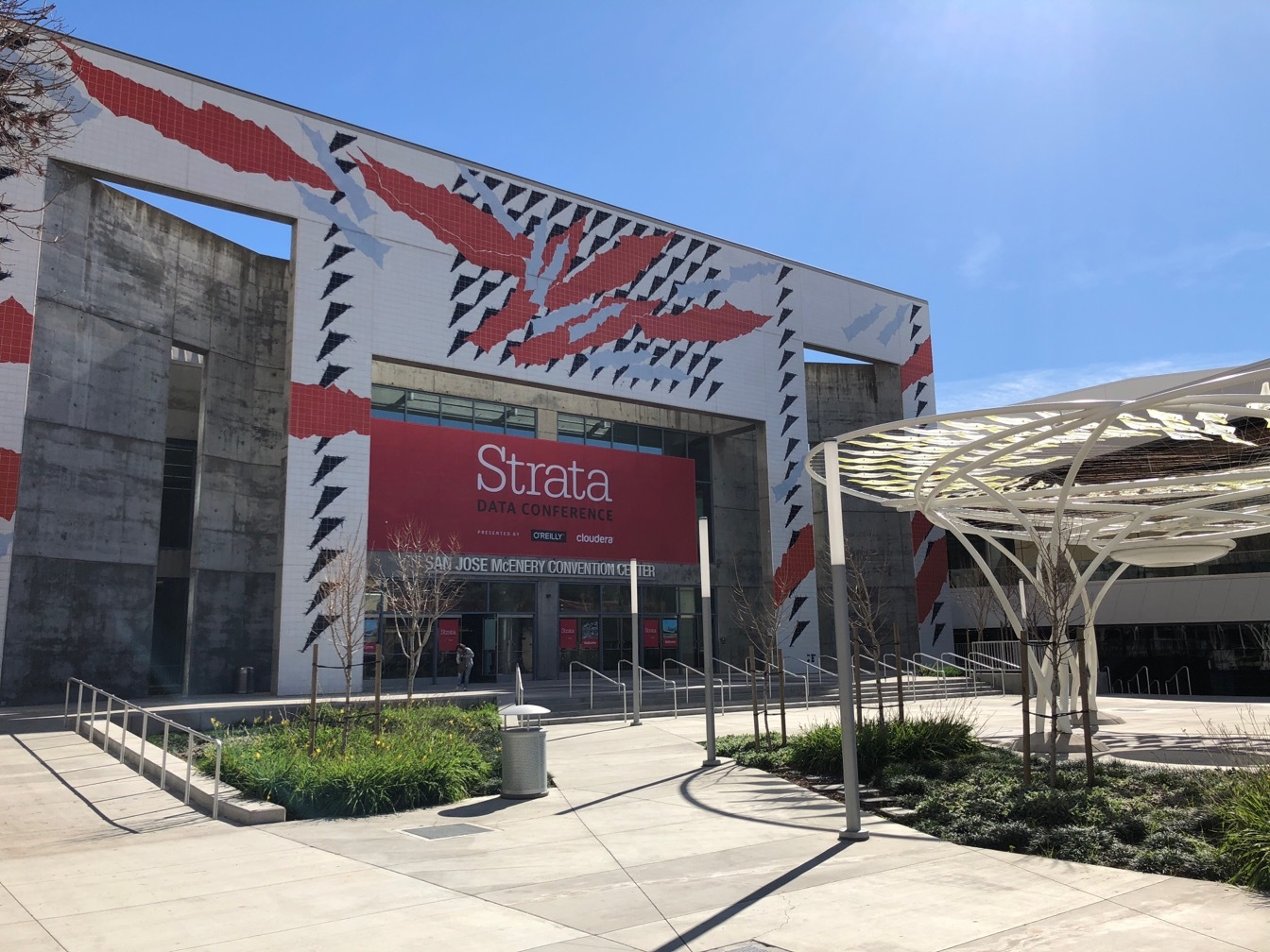 San Jose conference center with a red and white banner for the Strata Data Conference.