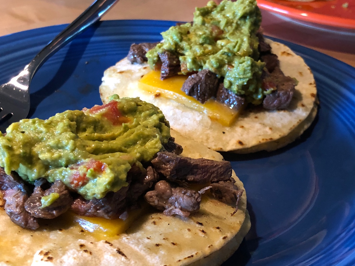 Steak and avocado tacos.