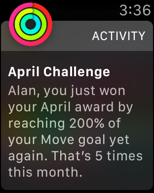 Screenshot of an activity achievement for doubling my move goal five times in a month.