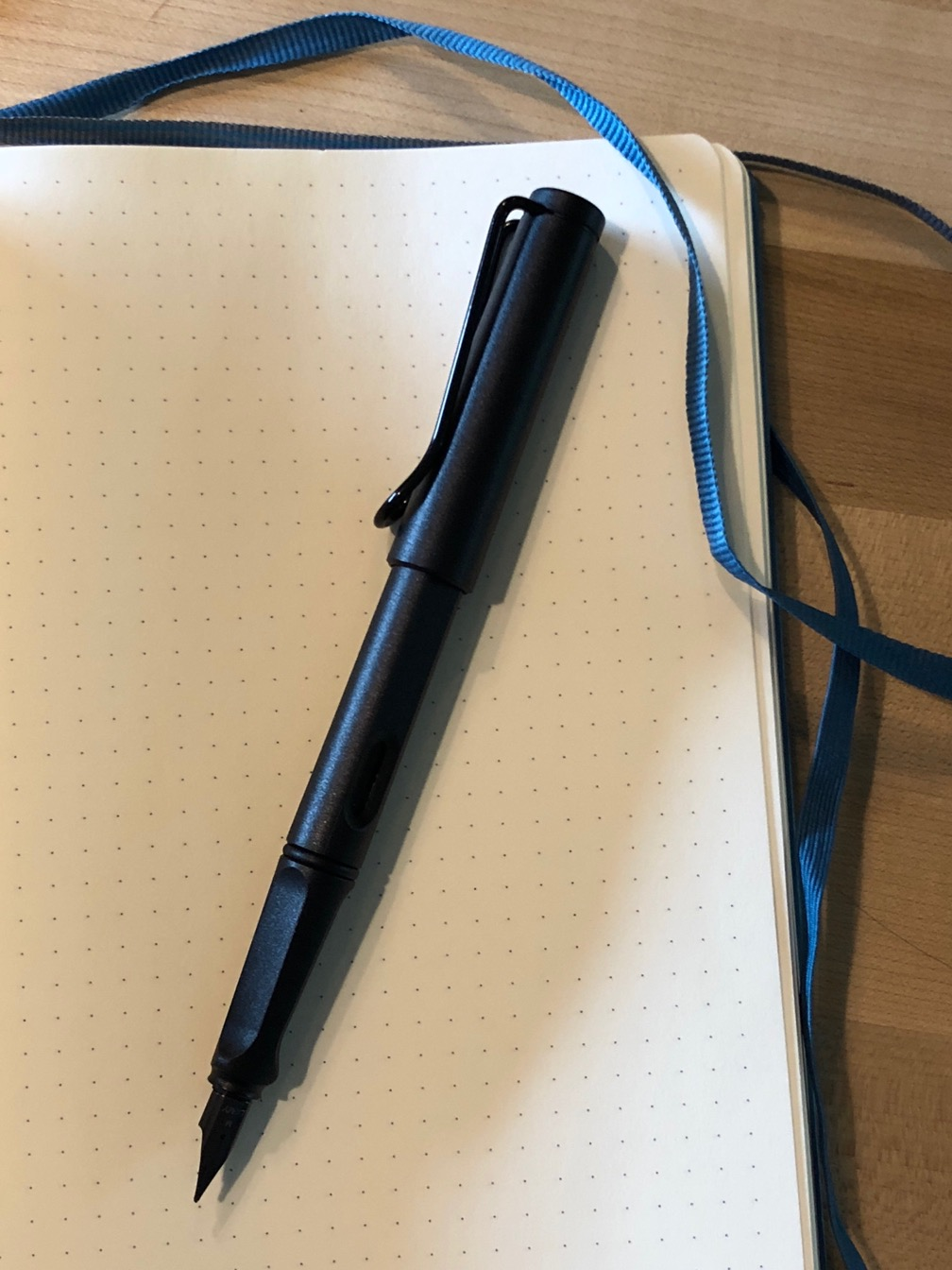 Photo of an All Black LAMY Safari on an open dotted notebook.