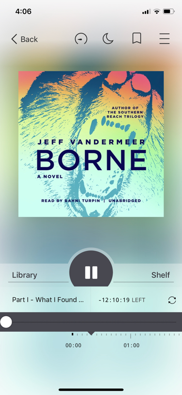 Screenshot of the Libby app displaying the control view for the audiobook of Borne.