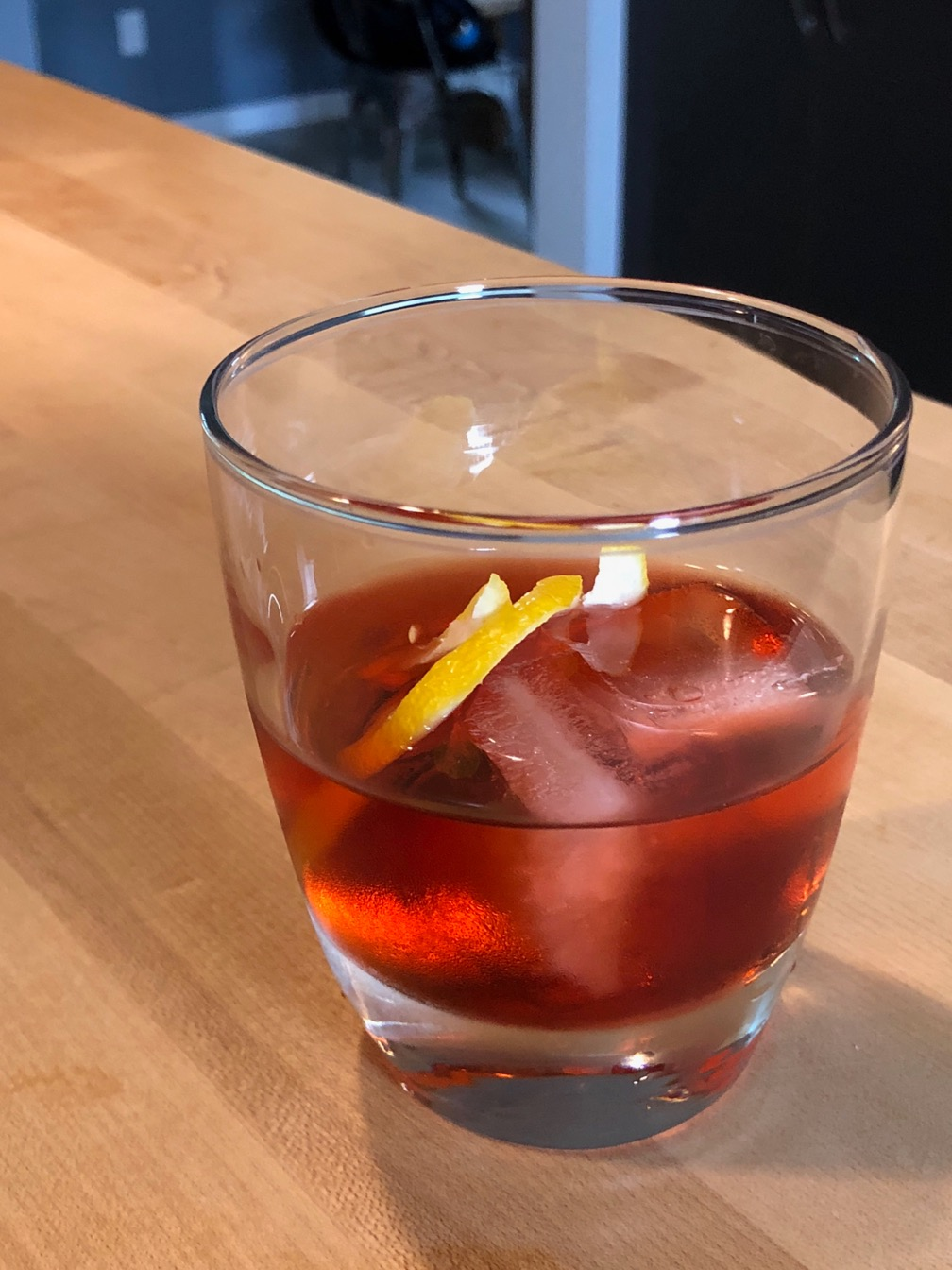 Photo of a Negroni on ice.