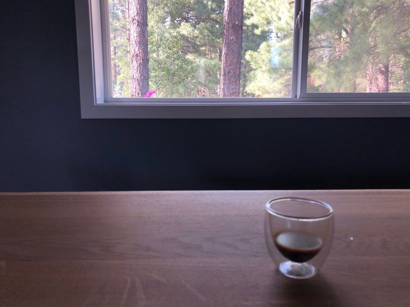 Photo of a small espresso cup on a table in front of a window.