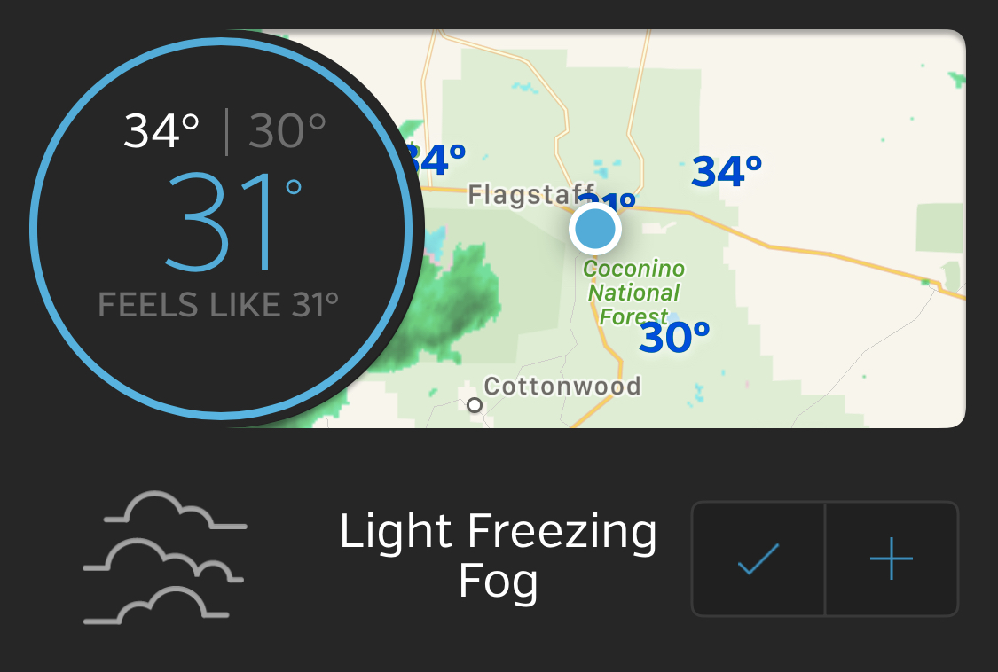 Screenshot of a weather forecast showing fog and cold.