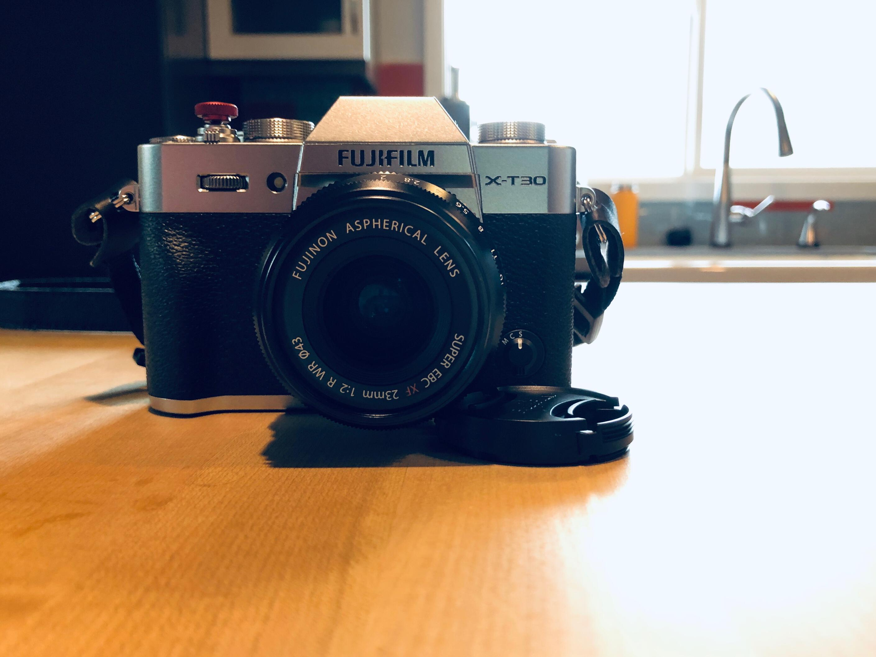 Fuji X-T30 camera sitting on a kitchen counter