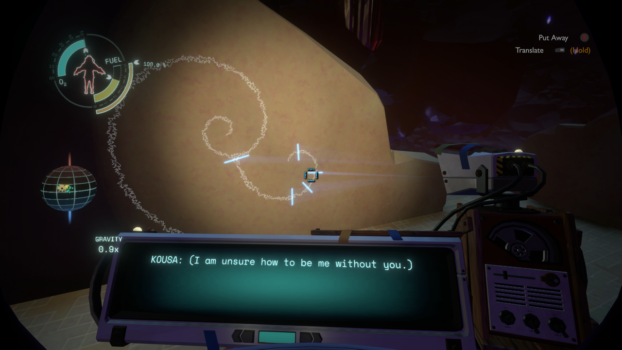 "Game screenshot showing the text ""I am unsure how to be me without you"" written on a wall."
