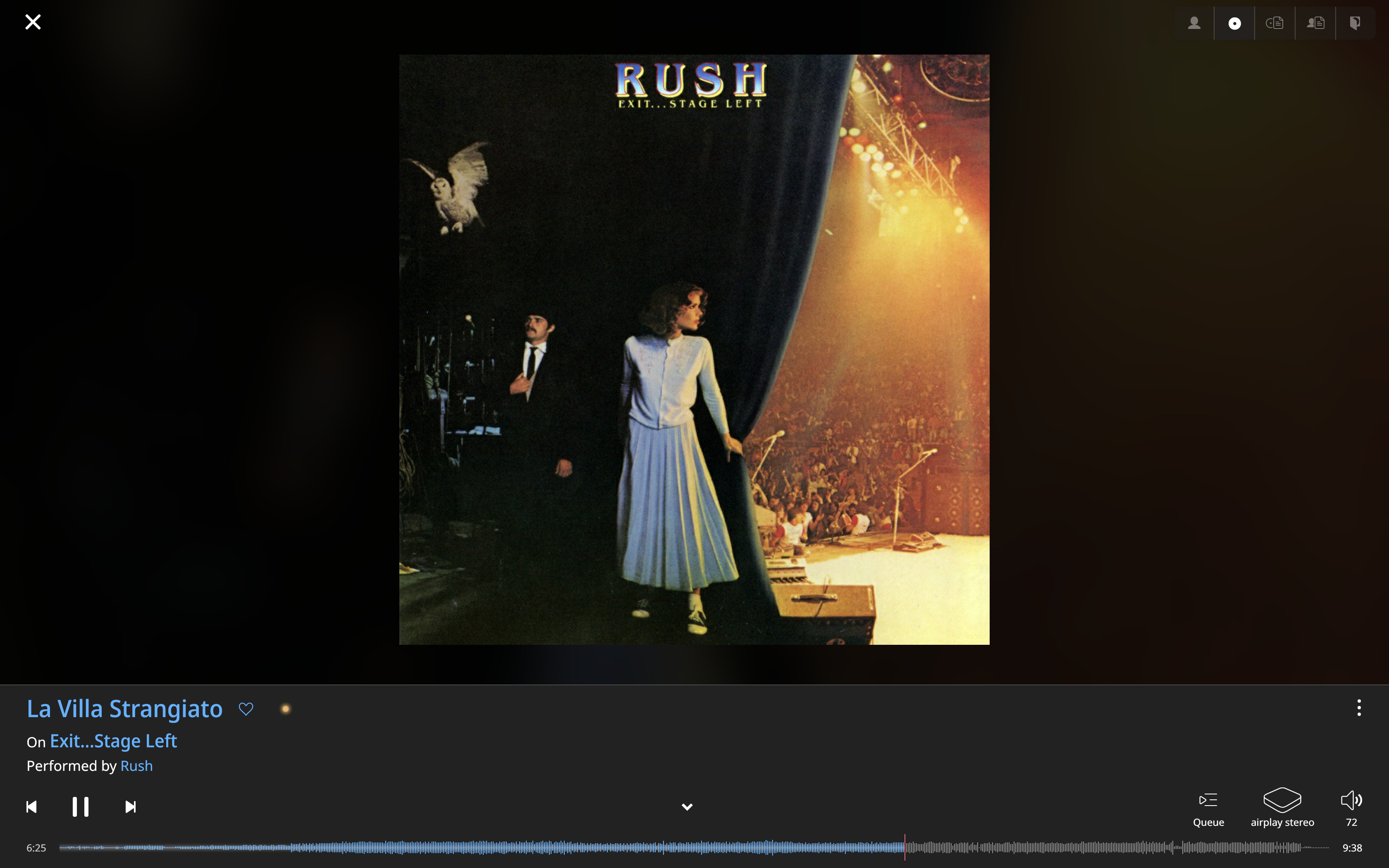 Image of the Roon application showing the cover of Rush's Exit... Stage Left