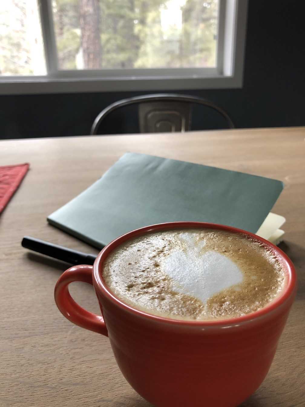 Cappuccino at a table with a notebook