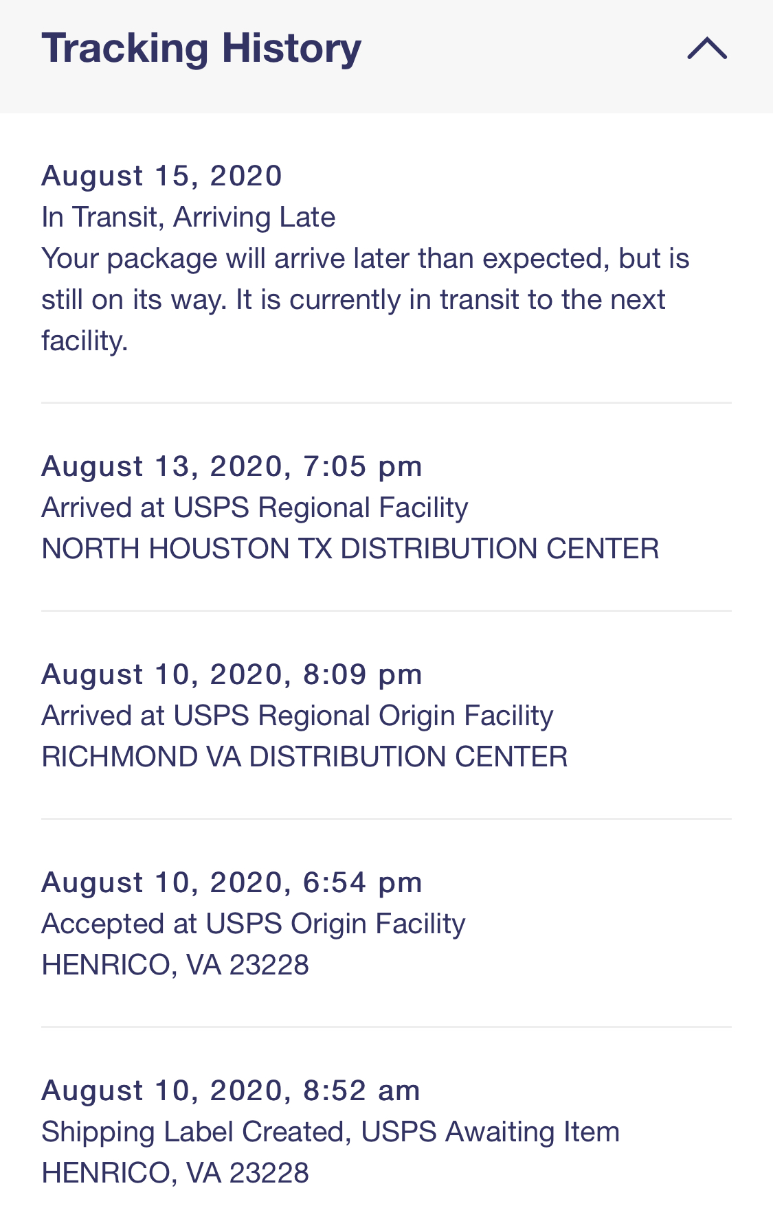 Screenshot of a package being tracked. It hasn't moved in days.