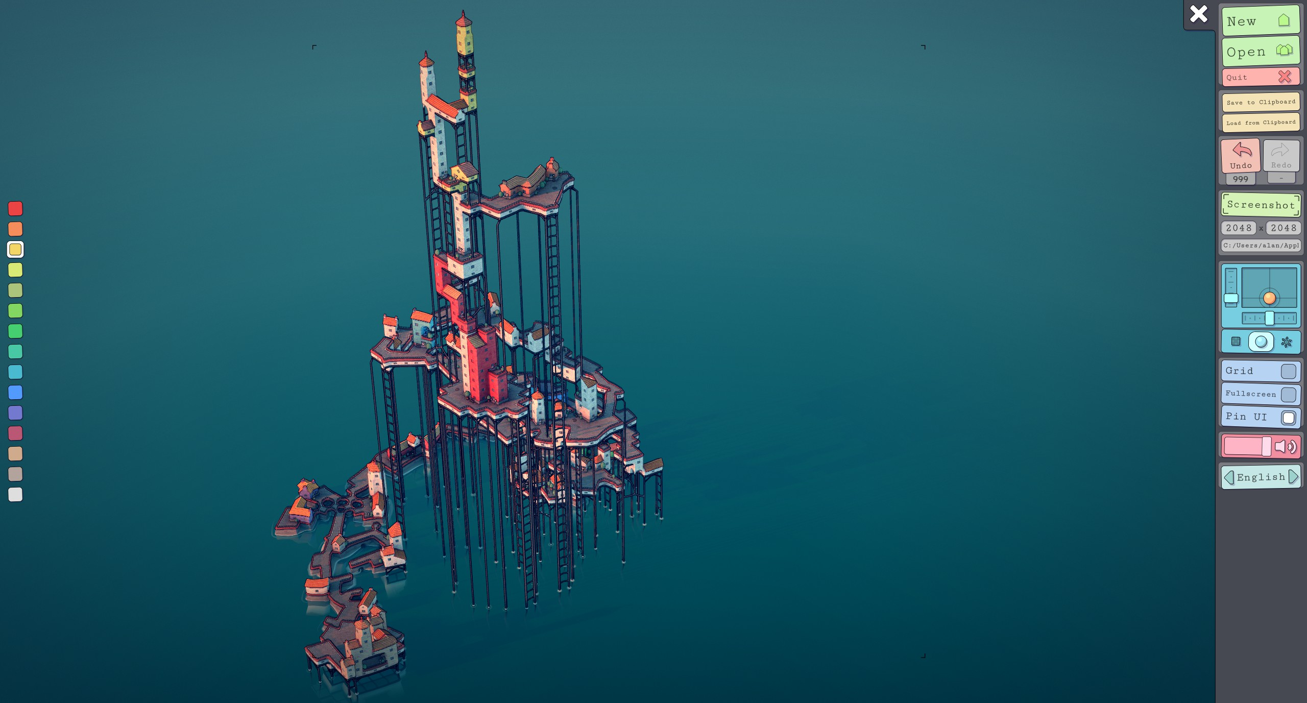a townscaper screenshot with many platforms and tall support struts building a high tower