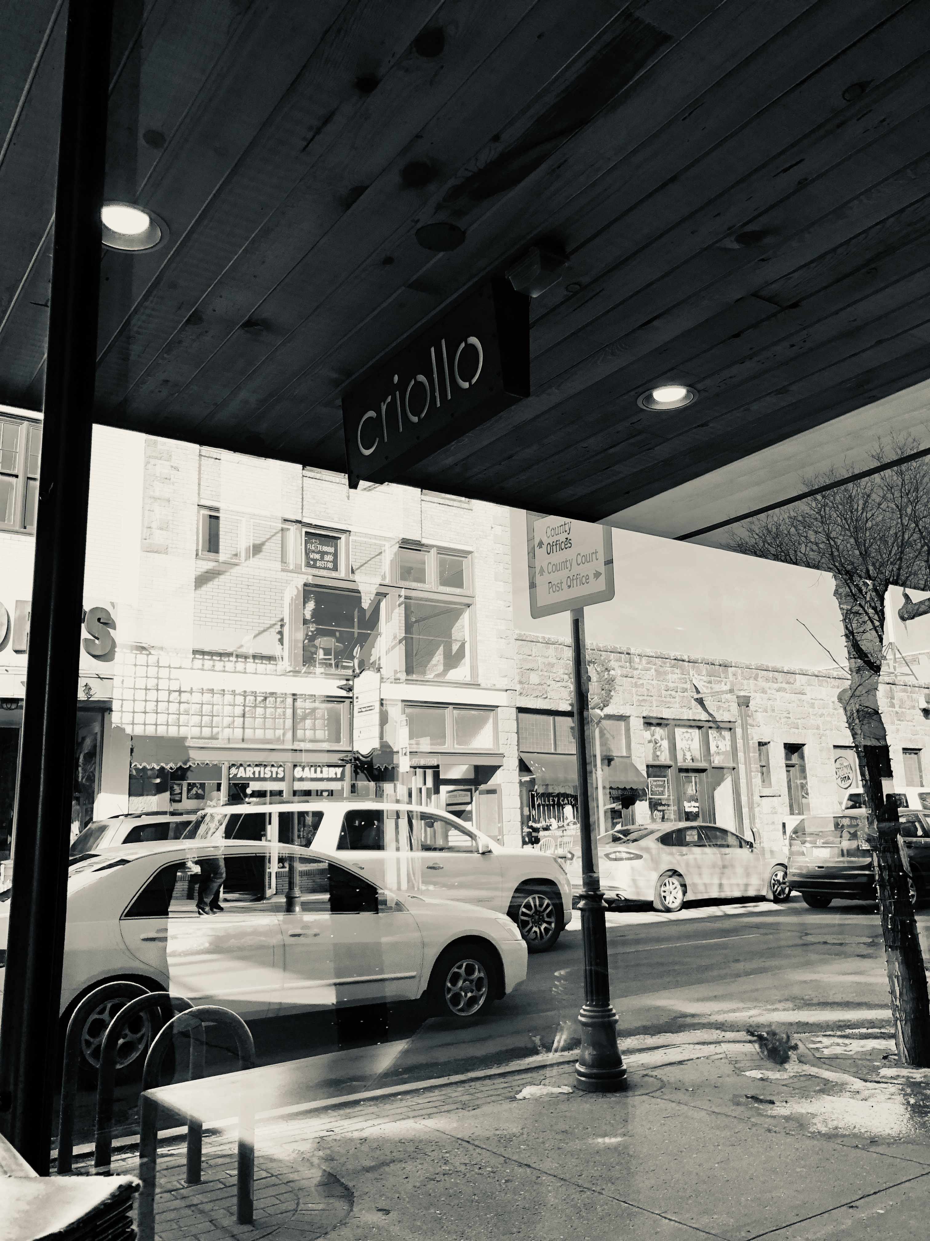 A view out a window, under a sign reading CRIOLLO, showing storefronts and cars