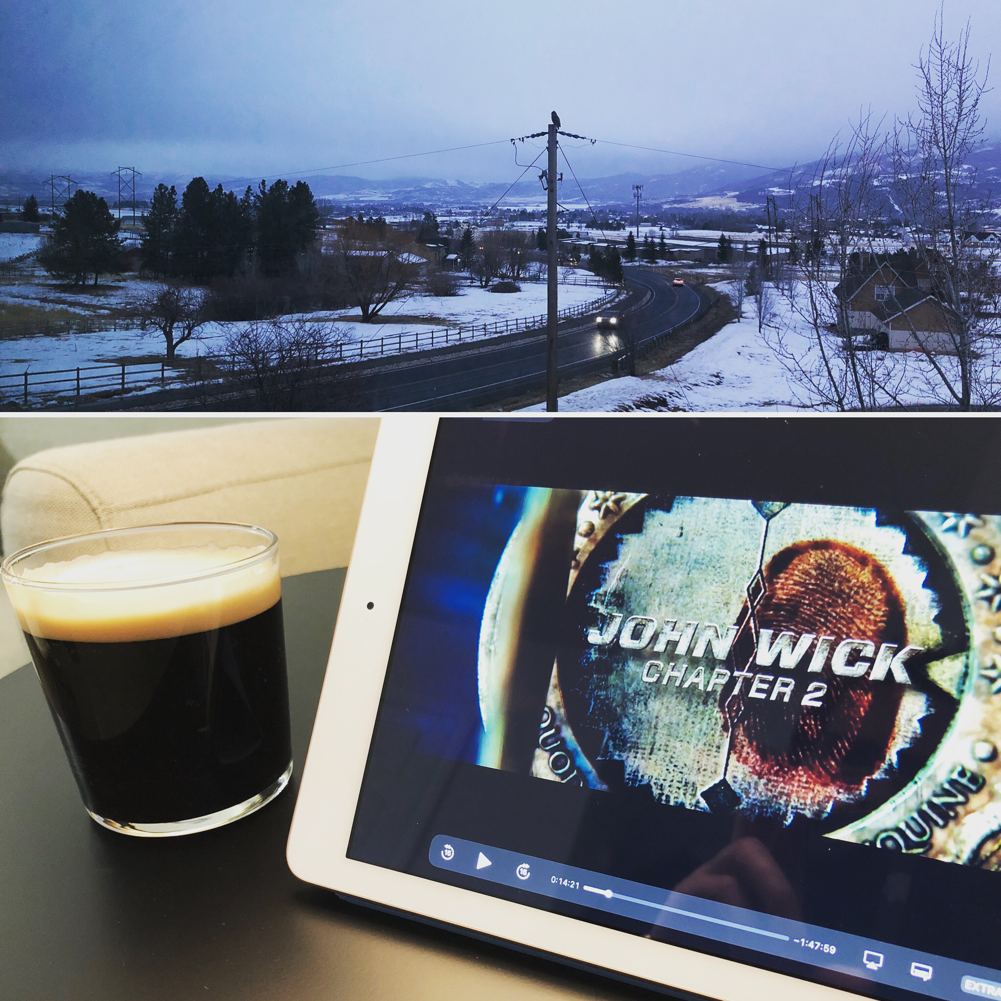 Snow clouds settling over a mountain landscape, and a photo of a dark beer beside an iPad playing John Wick 2