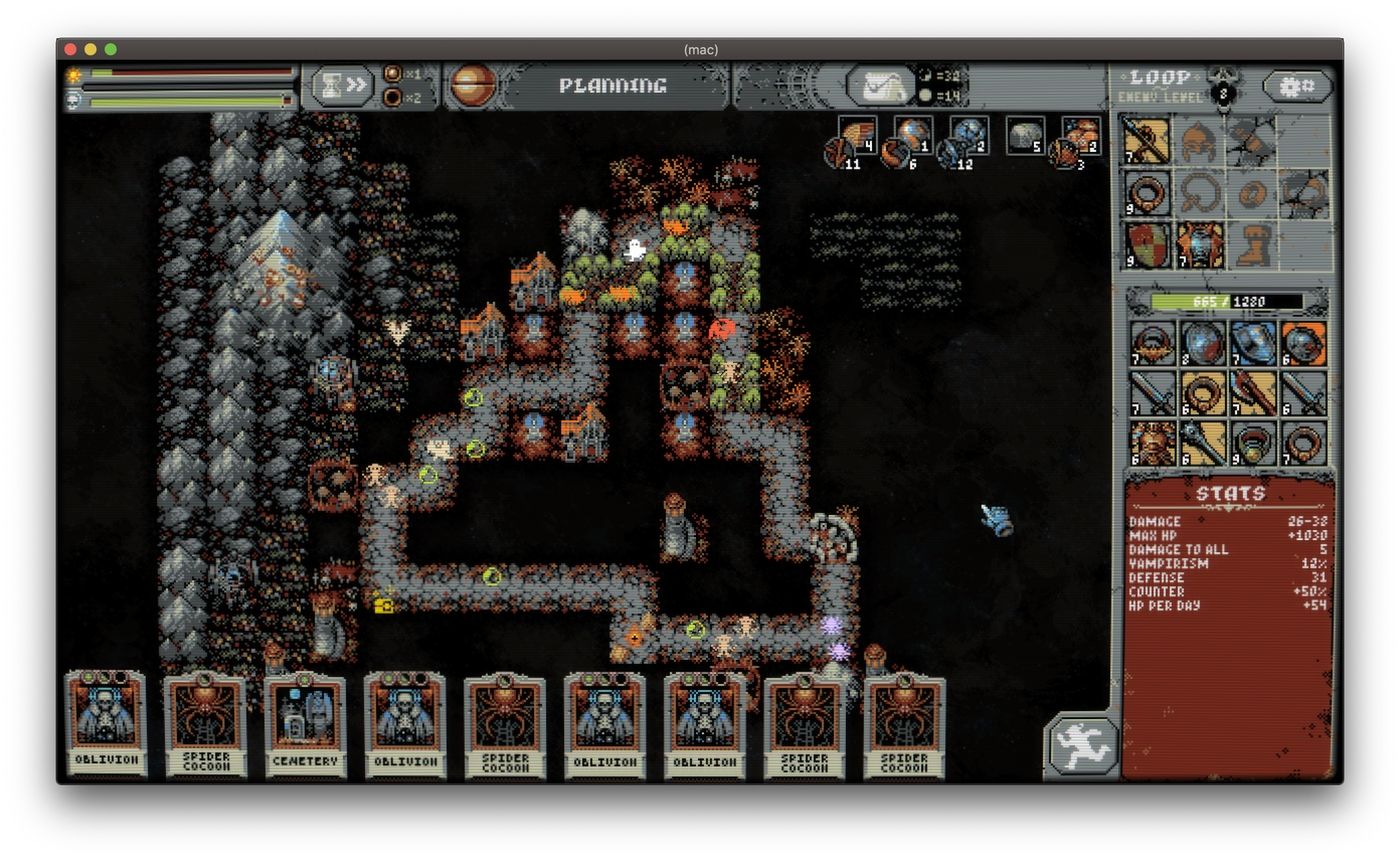 A screenshot showing an irregular-shaped loop surrounded by game tiles