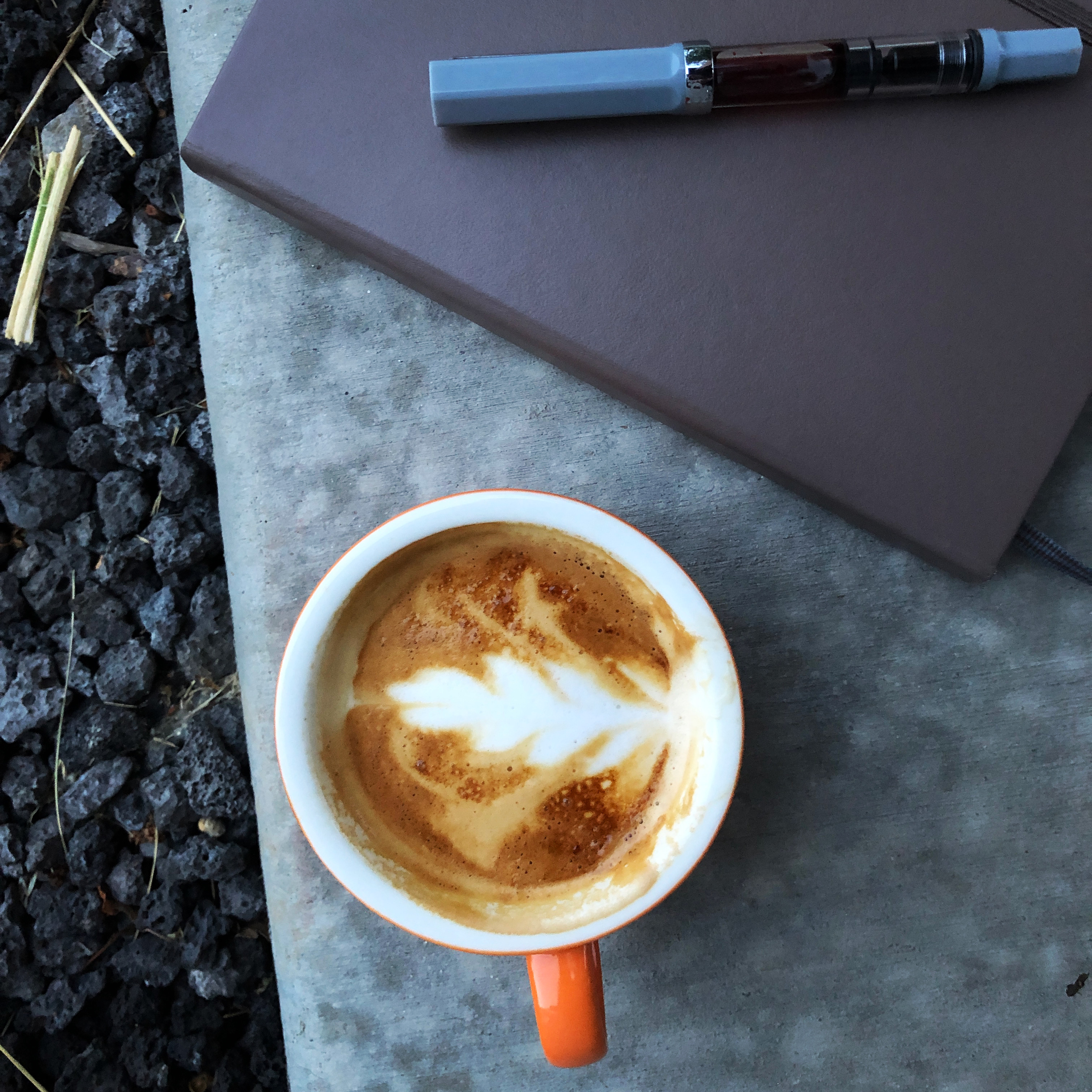 Cappuccino beside a journal and pen on grey concrete